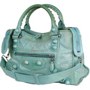 Balenciaga Shoulder Bag light blue-turquoise leather