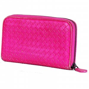 Bottega Veneta Wallet neon pink-magenta leather
