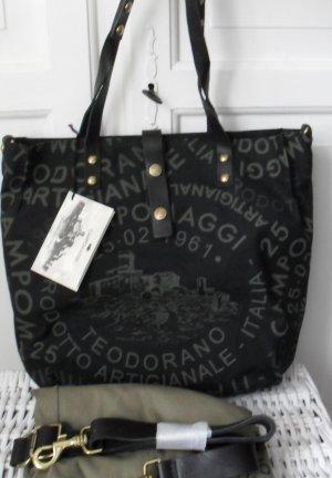 orig. Campomaggi Tasche F0133 Canvas Leder Nero st kaki NEU m. Etikett