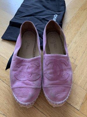 Orig Chanel Espadrilles rosa CC Logo Loafer 37 38 Leder