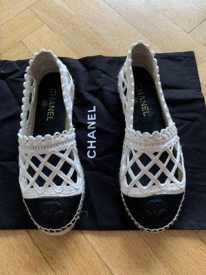 Orig CHANEL ESPADRILLES schwarz weiß Sommer 37 38 Flats CC Ballerinas