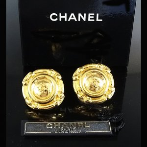ORIG CHANEL OHRRINGE OHRCLIPS CC LOGO GOLD PLATED BOX / SELTEN / GUTER ZUSTAND