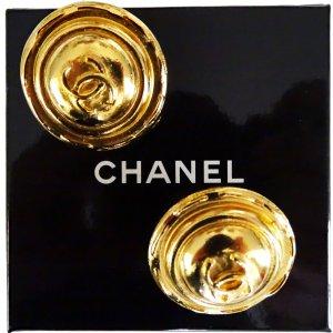 ORIG CHANEL OHRRINGE OHRCLIPS CC LOGO GOLD PLATED GESTEMPELT / SELTEN / GUTER ZUSTAND