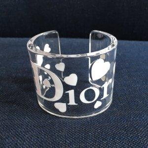 Orig. Christian Dior Runway Armreif Armband by John Galliano Logo transparent Acryl Herzen Herz Plexi weiss