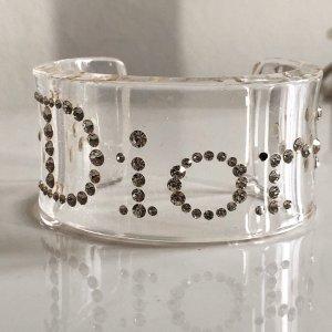 Orig. Christian Dior Runway Armreif Armband by John Galliano Swarovski Kristalle Logo transparent Acryl Plexi