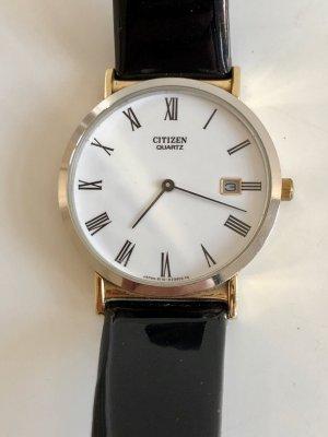 Orig. Citizen Armband Uhr gold silber bicolor Quartz Damenuhr Armbanduhr Lederarmband