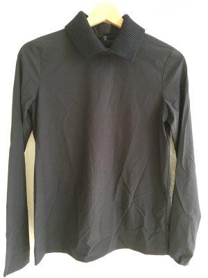 Orig COS Shirt 34 leichter Stoff Strick Kragen nachtblau-schwarz