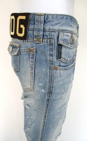 """Orig. Dolce & Gabbana """"Black Label"""" Jeans/Denim/Straight fit/Five-Pocket/partiell zerschlissen/Hellblau/100% Baumwolle/Gr. 36/wie NEU!"""