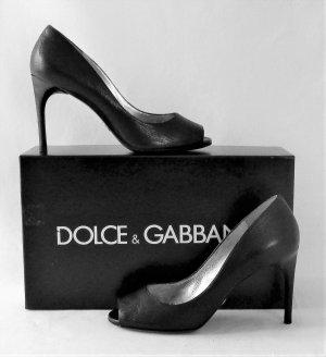 Orig. Dolce & Gabbana Peeptoe Pumps / Kalbsleder/ Schwarz/ HERVORRAGEND!
