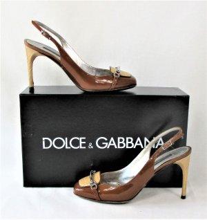 Orig. Dolce & Gabbana Slingback-Pumps /geprägtem Kalbsleder und Lackleder/Bronze-Braun-Beige/HERVORRAGEND!