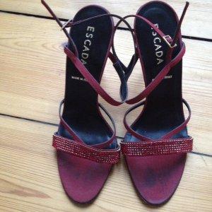 Orig. Escada Swarovski High Heels rot Trend Dunkelrot 40 41