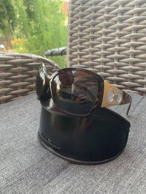 Orig. Ferragamo Sonnenbrille, braun mit Strassverzierung