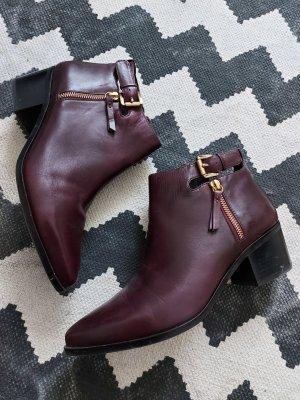Orig. Geox Stiefelette 41 Leder spitz Ankle Boots Bordeauxrot
