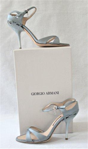 Orig. Giorgio Armani Sandalen/ Grau-Silver/ Textil-Leder/ WIE NEU!