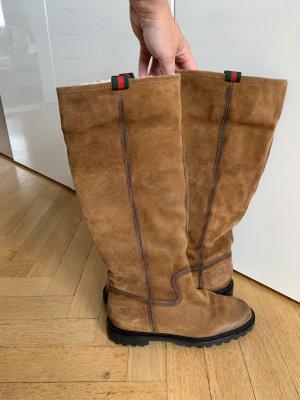 Orig GUCCI Stiefel brau cognac 35/36 wNeu Fell Boots 750€ Wildleder combat
