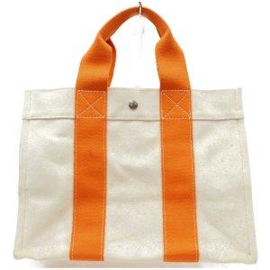 ORIG. HERMES FOURRE TOUT MM CANVAS SHOPPER Handtasche BEIGE / HÉRMES-ORANGE * GUTER ZIUSTAND