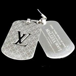 Orig. Louis Vuitton Dog Tags Anhänger Kette Halskette silberfarben / Sehr Guter Zustand