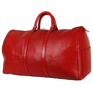 Louis Vuitton Travel Bag neon red leather