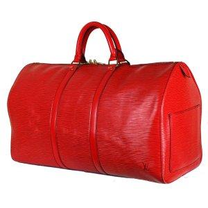 Louis Vuitton Bolso de viaje rojo neón Cuero