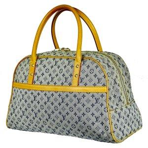 Louis Vuitton Bowling Bag lime yellow-pale blue