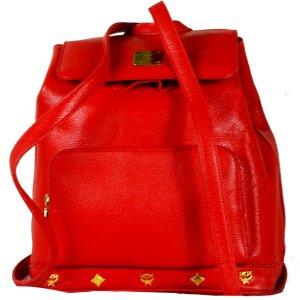 Orig. MCM City-Rucksack Leder Rot Backpack Schultertasche / Hervorragend