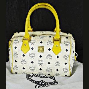 ORIG MCM Visetos Boston Bag Soeedy Monogramm weiss blau Handtasche / GUTER ZUSTAND