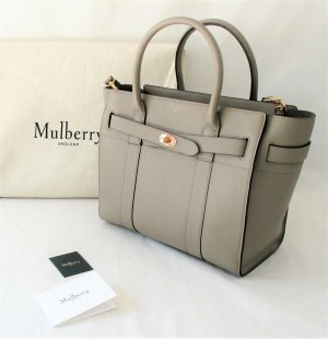 Orig. Mulberry Bayswater Small Zipped Classic /Taupe-Solid Grey-Gold/genarbtes Leder/WIE NEU! RECHNUNG!