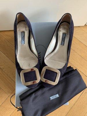 Orig PRADA Ballerinas Flats Leder blau Navy Gr.36 520€