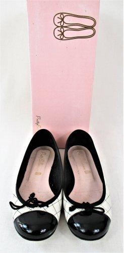 """Orig. Pretty Ballerinas """"SHADE"""" / Leder/Textil / weiss-schwarz / Gr.36 / Hervorragend!"""