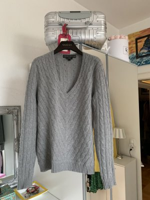 Ralph Lauren Purple Label Warkoczowy sweter szary Kaszmir