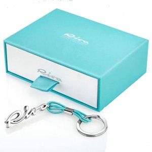 Porte-clés argenté-bleu clair