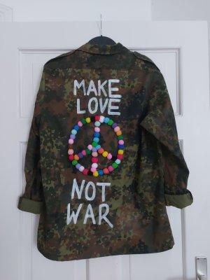 Orig. Soniush Parka L 40 42 Bundeswehr Make Love Not War Peace Pom Poms Hemdjacke Überhemd