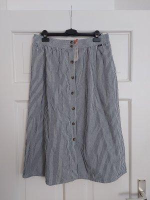 Superdry Spódnica midi biały-stalowy niebieski Bawełna