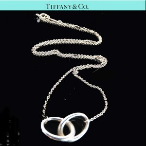 ORIG TIFFANY & Co. KETTE 2 RINGS VERBUNDENE RINGE Silber LIEBE TREUE / GUTER ZUSTAND