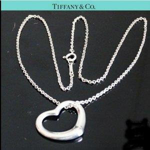 ORIG TIFFANY & Co. PERETTI OPEN HEART KETTE m. HERZ-ANHÄNGER LARGE 925 Silber / SEHR GUTER ZUSTAND