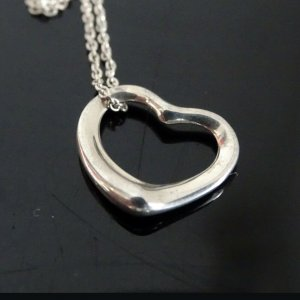 ORIG TIFFANY & Co. PERETTI OPEN HEART KETTE mit HERZ-ANHÄNGER LARGE Silber /TOP