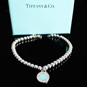 ORIG TIFFANY & Co. RETURN TO TIFFANY ARMBAND KUGELN mit ANHÄNGER 925 Silber /TOP ZUSTAND