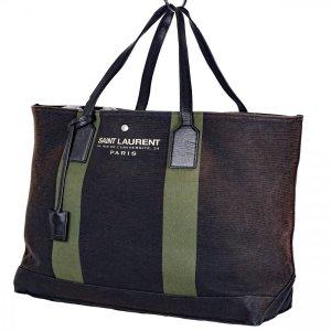 Yves Saint Laurent Shopper brun foncé lin