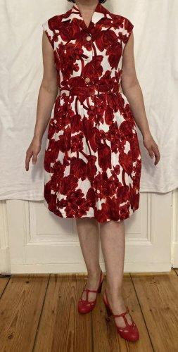 Keine Marke Koszulowa sukienka ciemnoczerwony-biały