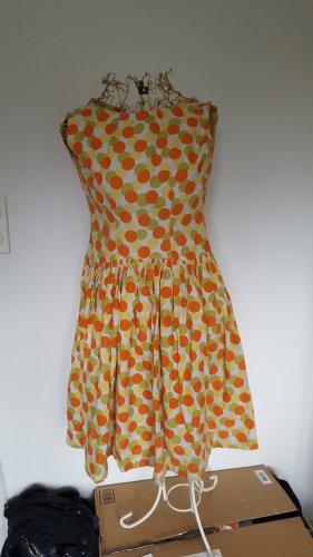 original 50er Jahre Kleidchen orange gelb grün getupft