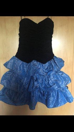 Vestido bustier negro-azul acero Fibra sintética