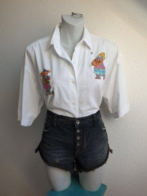 Original 90s Vintage Hemd mit Teddy Stickerei, Oversized