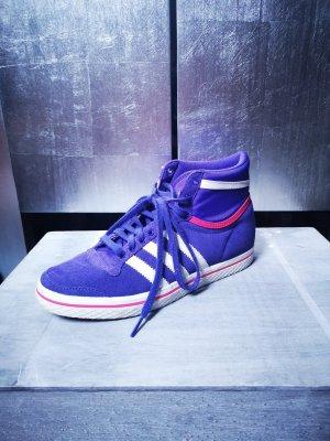Original Adidas High Top Sneakers in Lila Gr 38 2/3 Hightop Sneaker weiss 3 Stripes hoch hohe Turnschuhe