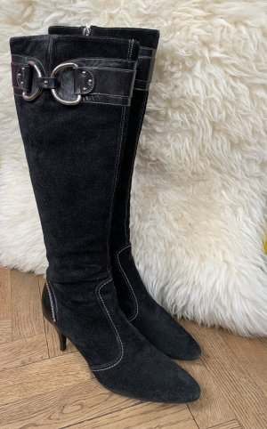 Original Bally Designer Stiefel in schwarz, Wildleder, gr. 37,5