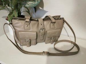 Original Beardesign Damen Schultertasche Handtasche taupe Echtleder