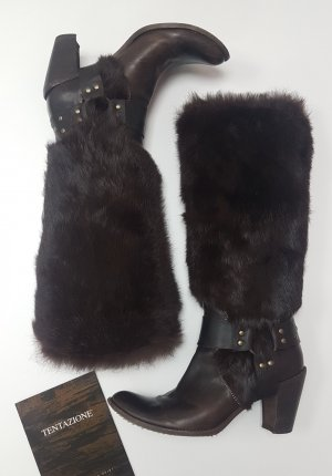 Tentazione Fur Boots bronze-colored-dark brown pelt