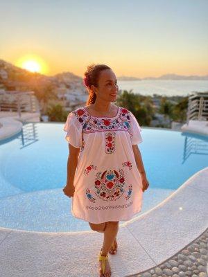 Original Boho Mexikanisches Kleid Handbestickt Neu!