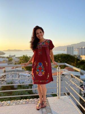 Original Boho Mexikanisches Kleid Handbestickt Neu