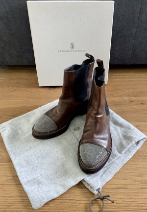 Brunello Cucinelli Slip-on Booties brown-anthracite leather