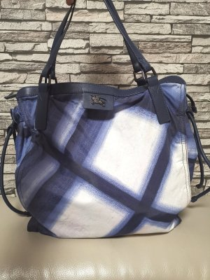 Original Burberry Bugleigh Shopper Tasche Nylon blau blue pre-owned Umhängetasche